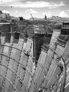 Hoover Dam under construction, 1931 to 1936.