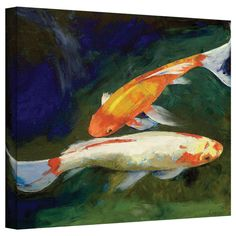 Michael Creese 'Feng Shui Koi Fish' gallery-wrapped canvas is a high-quality canvas print art depicting a pair of golden koi fish interacting in the artist's signature vibrant, oil impasto style. A serene addition to your home or office.