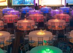 Lighted Tables with pink, orange, yellow, lime, caribbean blue and purple