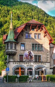 Cafe Confectionery Central in Altdorf Switzerland -- Photo by Hanny Heim Snowbird Photography Places Around The World, Travel Around The World, Around The Worlds, Beautiful Buildings, Beautiful Places, Berne, Travel Goals, Architecture, Wonders Of The World