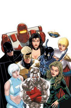 Cover for Justice League: Generation Lost series) Dc Comics Heroes, Dc Comics Art, Cosmic Comics, Marvel Comics, Superhero Characters, Dc Comics Characters, Comic Book Covers, Comic Books Art, Justice League Team