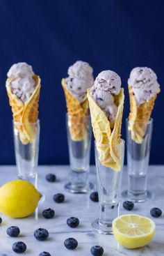 Lemon Pizzelle Ice Cream Cones with Blueberry Ice Cream | Culinary Hill | #IceCreamCraving #Dessert
