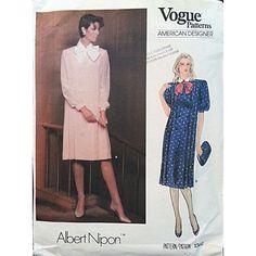 Misses Dress Vogue American Designer 1302 Vtg Pattern Albert Nipon Size 18 c1075 #Vogue