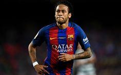 Download imagens 4k, Neymar, 2017, Barca, Neymar Jr, O FC Barcelona, estrelas do futebol, FCB