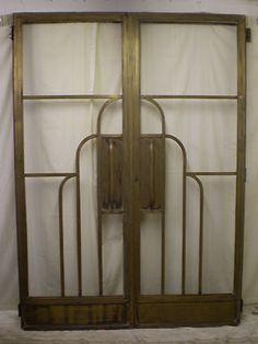 An Original Pair Of Bronze 1920s Art Deco Odeon Cinema Doors