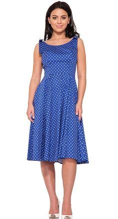 Sabrina Polka Dot Dress in Blue | Blame Betty