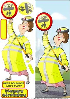 Lollipop Lady Large DL on Craftsuprint designed by Gordon Fraser - A bastion of safety to all school kids....this Lollipop lady protects one and all! Easy to make, large DL design with decoupage, blank and sentiment tiles. More versions of this lady are available. Don't forget to check out my other Dudes and designs, just click on my name. Thanks for looking! - Now available for download!