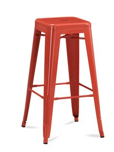 """Pull up a tangerine seat for a bold, juicy kitchen accent. (Tabouret 30"""" Metal Stools, set of 2, $99; overstock.com)"""
