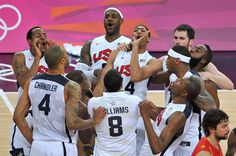 The United States players celebrate winning the Men's Basketball gold medal game between the United States and Spain