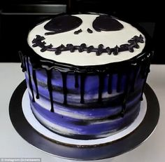 Chelsey then iced the cake to look like the face of the Tim Burton film's lead character, ...