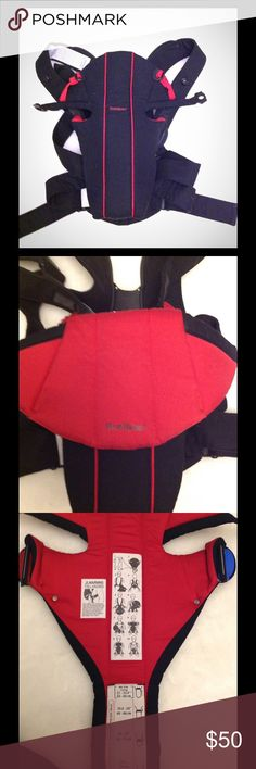Baby Bjourn Miracle Red/Black. Excellent condition Flexible design provides outstanding comfort. Ergonomic hip belt gives great comfort from newborn to 15 months. Extra soft and comfortable for the child. The baby carrier grows with the child and is incredible easy to set up correctly with the help of the smart size buckle on the inside of the carrier. This is, in our opinion the best baby carrier from Baby Björn so far. Fits from newborn up to about 26-27 pounds. Meets safety requirements…