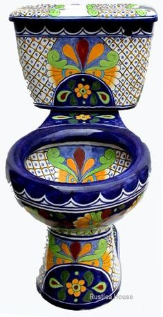 new house options Old European bathroom set consisting of Mexican toilet, talavera sink, wooden seat and talavera accessories. Toilet itself as well as optional products are decorated Tucson, Painted Furniture, Funky Furniture, Sweet Home, Home Fashion, Pottery, Cool Stuff, Beautiful, Bathrooms