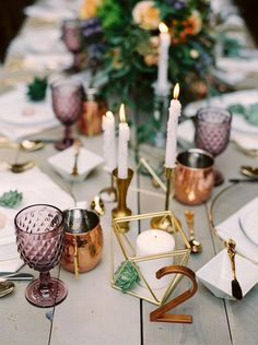 Amethyst and Gold Bohemian Wedding Decor | Milton Photography | http://heyweddinglady.com/colorful-boho-shoot-coral-copper/