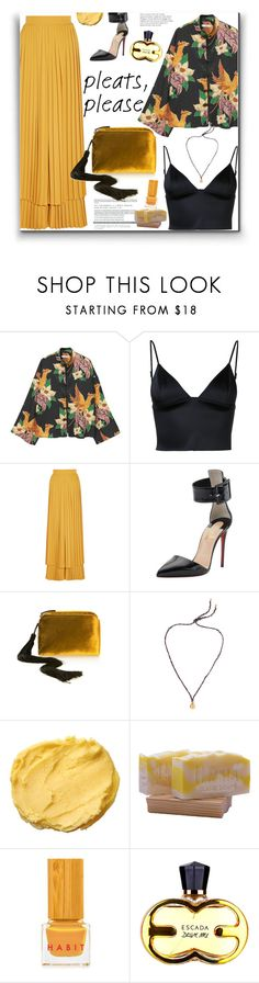 """Give me Pleats, Please!"" by marialibra ❤ liked on Polyvore featuring MANGO, T By Alexander Wang, Sara Battaglia, Christian Louboutin, The Row, Elizabeth and James and Habit Cosmetics"