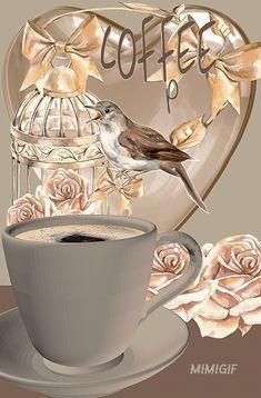 Good Morning Romantic, Good Morning Coffee, Good Morning Flowers, Morning Wish, Good Morning Images, Coffee Gif, Coffee Love, Gif Café, Good Morning Friends Quotes