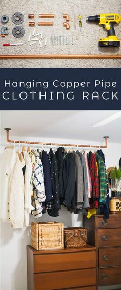 DIY Hanging Copper Pipe Clothing Rack DIY - A Beautiful Mess Want a garden but not enough room or so Hanging Racks, Diy Hanging, Diy Clothes Rack Pipe, Clothes Rack Bedroom, Clothing Racks, Diy Clothes Storage, Diy Clothing, Pipe Rack, Ideas Hogar