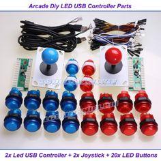 Arcade-hagalo-usted-mismo-partes-Usb-Codificador-2-Joystick-20-Led-Iluminada-Botones-Mame