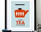 Kitchen art Catherineholm poster print Mid Century Modern retro enamelware coffee tea office print - It's Coffee O'clock Red A3. $29,00, via Etsy.