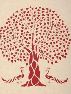 Peepal Tree with Peacock Sanjhi Wall Art14in x 11.1in