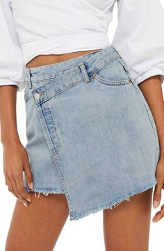 Topshop Topshop Deconstructed Wrap Denim Skirt available at Denim Fashion, Fashion Outfits, Modest Fashion, Topshop Skirts, Denim Ideas, Classic Skirts, Jeans Rock, Recycled Denim, Diy Clothing