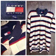 Men's Tommy Hilfiger Polo Shirt Striped Blue Ivory Red Size XL  | eBay