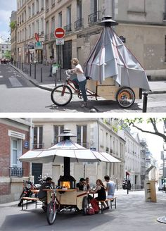 La Cheminambule, a mobile hearth and eating place for more conviviality. Paris, France, 2013. (Click for more pictures.)