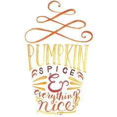 Pumpkin Spice Everything Nice Print #PSL ❤ liked on Polyvore featuring home, home decor, wall art, watercolor painting, water color painting, autumn home decor, fall home decor and watercolor wall art