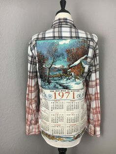 Womens Bleached Plaid Flannel Button Down Shirt Vintage Calendar Tea Towel Back 1971 Size Small - Kind Shirt - Ideas of Kind Shirt - Womens Bleached Plaid Flannel Button Down Shirt by willowfinds Vintage Calendar, Bleach Shirts, Shirt Refashion, Upcycle Shirts, Sweatshirt Makeover, Plaid Flannel, Flannel Shirts, Recycling, Altered Couture