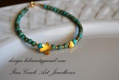 Handmade 925 Sterling Silver Bracelet. Gold Plated. Turquise Beads, Margarita