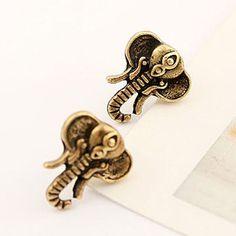 Retro Antique Bronze Elephant's Nose Stud Earring
