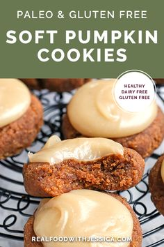 Soft Pumpkin Cookies-Soft Pumpkin Cookies These Paleo Soft Pumpkin Cookies are easy to make and incredibly delicious! A thick pumpkin cookie, spiced just right and topped with a sweet frosting. They are gluten free, dairy free, and naturally sweetened. Paleo Sweets, Healthy Dessert Recipes, Whole Food Recipes, Paleo Food, Paleo Pumpkin Recipes, Health Desserts, Vegan Pumpkin, Veggie Food, Dinner Recipes