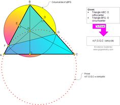 Math Geometry Problem 837 about Triangle, Orthocenter, Circumcenter, Concyclic points. Teaching, High School, Math Education.