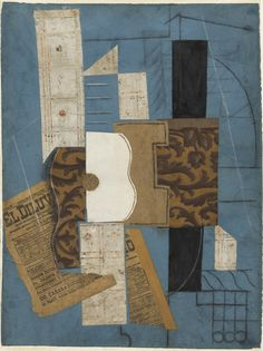 """PABLO PICASSO (Spanish, 1881-1973) Guitar Céret, March 31, 1913 or later Cut-and-pasted newspaper, wallpaper, and paper, chalk, charcoal, ink, and pencil on colored paper 26 1/8 x 19 1/2"""" (66.4 x 49.6 cm) The Museum of Modern Art, New York. Nelson A. Rockefeller Bequest, 1979"""