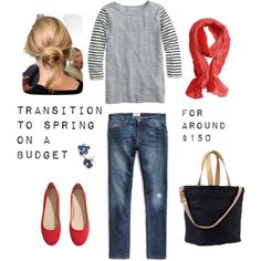 A fashion look from February 2014 featuring J.Crew t-shirts, MANGO jeans and H&M flats. Browse and shop related looks. Casual Outfits, Cute Outfits, Fashion Outfits, Red Flats Outfit, Spring Summer Fashion, Spring Outfits, Preppy Style, My Style, Spring Looks
