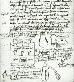 Line drawings in the text illustrate apparatus necessary for alchemy work. There are many examples of this use of imagery in alchemical manuscripts. century manuscript of alchemical recipes Medieval Manuscript, Medieval Art, Illuminated Manuscript, Nicolas Flamel, Esoteric Art, Far Future, Weird Words, Like Image, Virtual Art