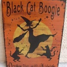 CATS Halloween Decorations witches signs primitives Black cats boogie Primitive by HayridePrims, $32.00