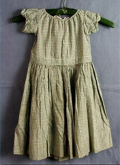 Dress, child's, green and off-white cotton gingham, 1855-1860