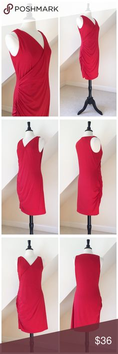 """🆕 Banana Republic Career Dress New without original tags...Banana Republic Career Dress...sleeveless...faux wrap...ruched side...tomato red...stretch jersey knit...fully lined...cotton/poly blend...approx length 40""""...bust approx 19"""" across...waist approx 17"""" across...hips approx 20"""" across...machine washable....size Large...retail $79 Banana Republic Dresses Midi"""