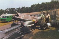 Patrick Depailler's Alfa Romeo 179, Hockenheim, 1980. He survived the crash, but not for very long, dying from severe injuries moments later.