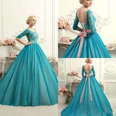 Ball Gown Prom Dresses Scoop Sweep/Brush Train Tulle Lace Prom Dress/E – annapromdress
