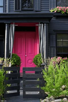 dark house with pink front door Black House Exterior, Exterior Front Doors, House Paint Exterior, Exterior Paint Colors, Exterior House Colors, Paint Colors For Home, Exterior Design, Paint Colours, Exterior Homes