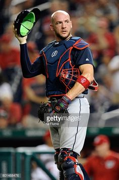 Tyler Flowers of the Atlanta Braves catches against the Washington Nationals at Nationals Park on June 12, 2017 in Washington, DC.