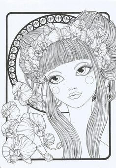 Cahier de coloriage Floral Girls par Pennelliefantasia sur Etsy