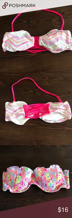 *VS SWIM TOPS* bandeau style multicolor bandeau with no straps is a 36c from victoria secret. multicolor bandeau with straps is a medium from pink.  ***please look at all listings, will offer bundle discounts!*** PINK Victoria's Secret Swim Bikinis