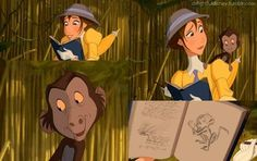 Baby baboon loves his sketch, tarzan