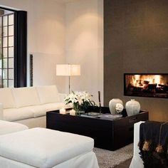 Fireplaces with Flair : Architectural Digest Contemporary Design, Modern Design, Indoor Outdoor Fireplaces, Interior Architecture, Interior Design, Fireplace Design, Modern Fireplace, Living Styles, Living Room Remodel