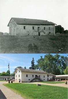 Sutter's Fort in 1893 and in the present, Sacramento, CA