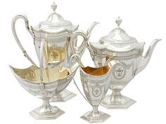 Sterling Silver Four Piece Tea and Coffee Service - Antique Victorian SKU: A3854 Price GBP £4,250.00 http://www.acsilver.co.uk/shop/pc/Sterling-Silver-Four-Piece-Tea-and-Coffee-Service-Antique-Victorian-50p2451.htm#.Vjs6zL88rfd