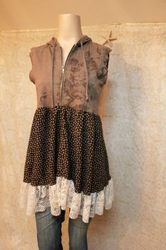 Boho Hoodie Shirt, Shabby Chic Romantic, Bohemian Junk Gypsy Style, Mori Girl, Lagenlook