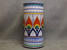 Ceramic Umbrella Stand Painted By Hand in Pavona Style - Italian Pottery Italian Pottery, Arizona Tea, Warm Colors, Drinking Tea, Hand Painted, Ceramics, Traditional, Classic, Painting